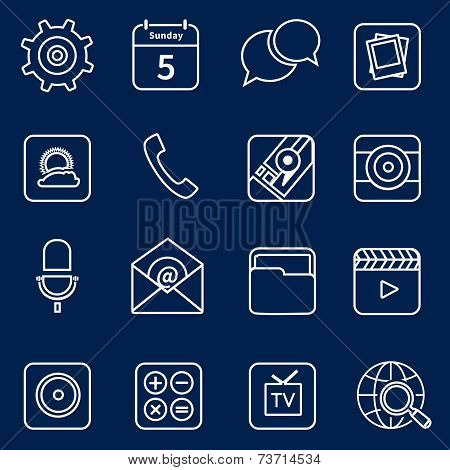 Mobile applications icons outline