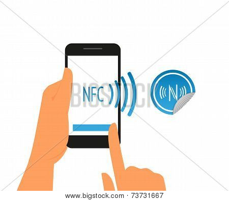Vector illustration of smartphone with nfc function and mobile tag poster