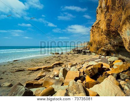 La Jolla Shores Rocky Coastline Beach, San Diego California USA