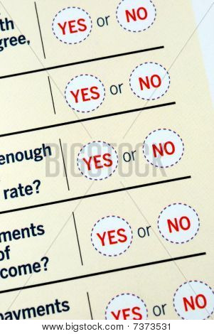 Select Yes or No from a questionnaire poster