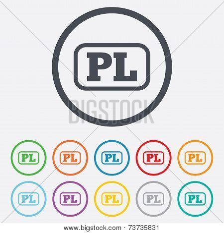 Polish language sign icon. PL translation symbol with frame. Round circle buttons with frame. Vector poster