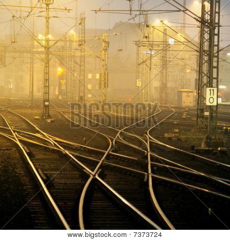 Confusing Railway Tracks Near Duesseldorf Hbf, Germany, At Night