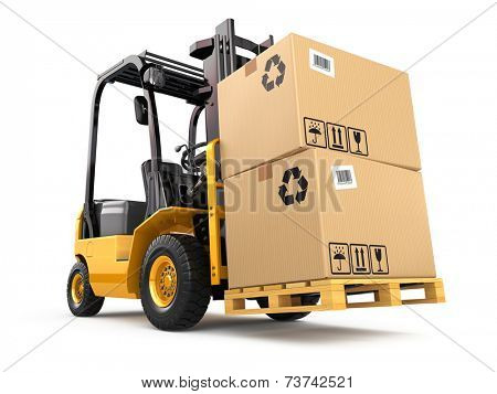 Forklift truck with boxes on pallet. Cargo. 3d