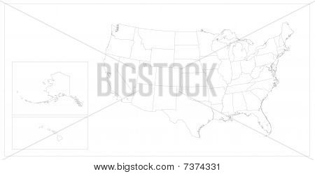 USA States Map Keyline
