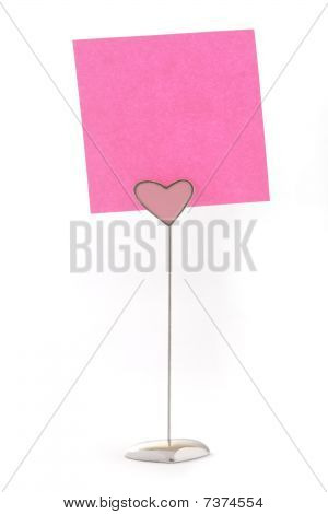 Pink Notes On Heart Shape Holder