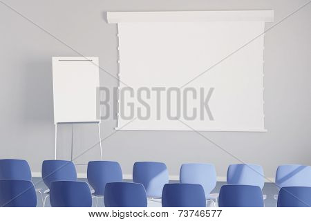 Empy white presentation canvas in a business meeting room