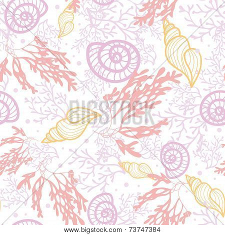 Vector seashells and seaweed seamless pattern background with hand drawn elements. poster