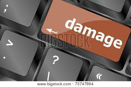 Crashed Or Damaged Computer Key Or Button