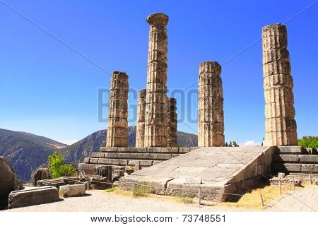 Ruins of Temple of Apollo in the archaeological site of Delphi, Greece