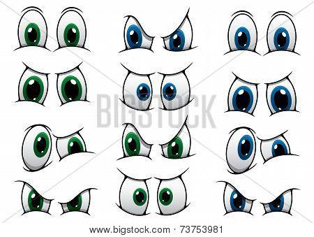 Set of cartoon eyes showing various expression