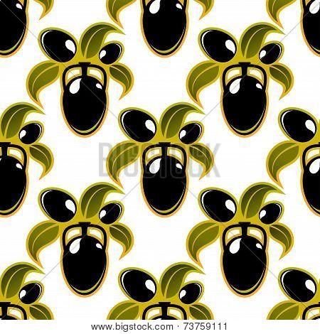 Black olives seamless background pattern