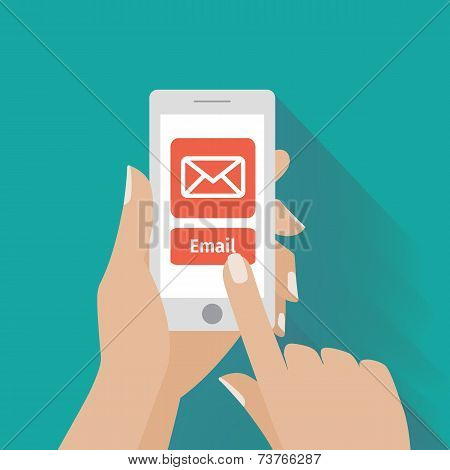 Hand touching smart phone with Email symbol on the screen
