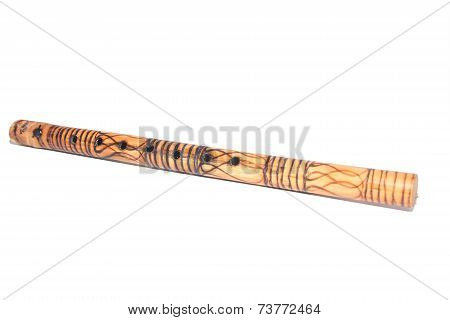 Bamboo Wooden flutes on white