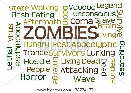Zombies word cloud with white background poster
