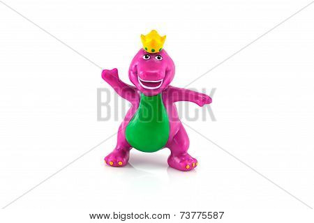 Barney The Purple Dinosaur Figure Toy And White Dog.