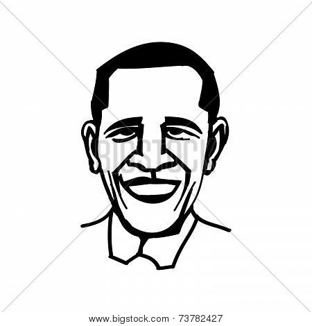 October 1, 2014: A Vector, Black And White Illustration Of President Obama