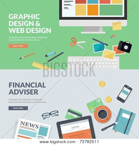 Flat design concepts for graphic design and web design development, and financial adviser