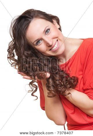 Graceful Woman With Curly Hair