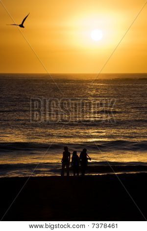 Completed Sunrise Over Ocean And Beach, With People And Bird Silhouette