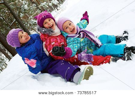 Winter Fun, Snow, Happy Children Sledding At Winter Time