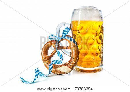 Bavarian Beer Mug With Pretzel