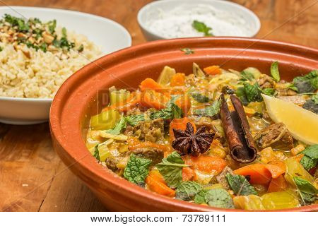 Moroccan Dish With Lamb, Vegetables And Bulgur