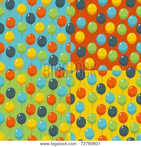 Colored party baloons pattern. Birthday, wedding, anniversary, jubilee, rewarding and winning invitation design. Seamless backgrounds. poster
