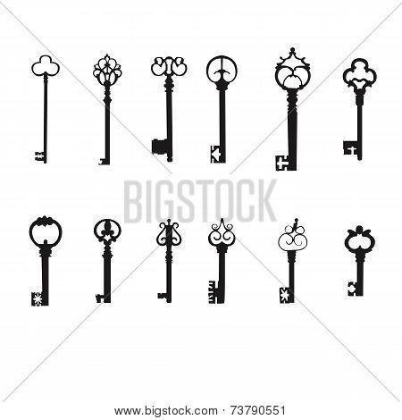 Vector keys silhouette set. Antique Keys
