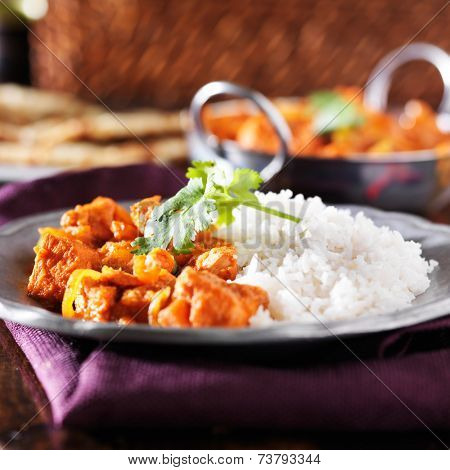 indian chicken vindaloo curry with basmati rice