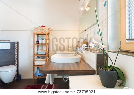 detail of basin on wooden board with decoration in bathroom