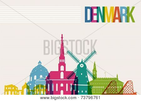Travel Denmark Destination Landmarks Skyline Background