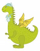 Symbol of holiday East New Years dragon - a woman in a hat with a jabot. Vector poster