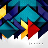 Squares and shadows - colorful geometric futuristic tech abstract background poster