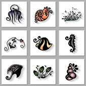 Vector Set of Sea Flora and Fauna with Long Shadow, Patterned design poster
