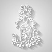 Vector Hand Drawing Silhouette of Floral Goddess. Patterned Design poster