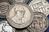Coins of Mauritius. Sir Seewoosagur Ramgoolam depicted in the Mauritian rupee coin.  poster