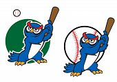 Cartoon wise old owl playing baseball standing with a raised bat in its wings poster