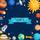 Background of solar system, planets and celestial bodies. poster