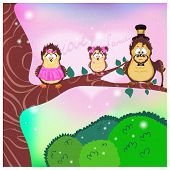 The family of birds owls, father, mother and daughter sitting on a tree branch above the green grass in the fairy forest poster