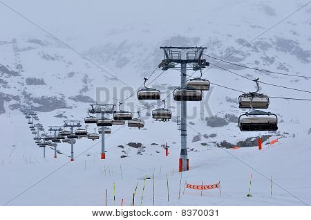 Cable car at Alpe d'Huez Ski Resort France poster