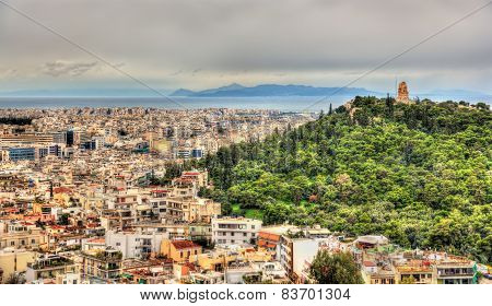View Of Philopappos Monument On Mouseion Hill In Athens, Greece