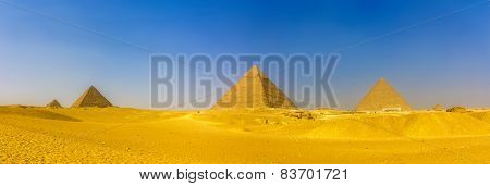 View Of Pyramids In Giza: Queens' Pyramids, The Pyramid Of Menkaure, The Pyramid Of Khafre And The G