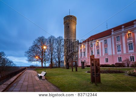 Long Herman Tower And The Parliament Building In The Morning, Tallinn, Estonia