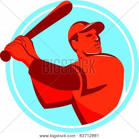 Baseball Batter Batting Bat Circle Retro