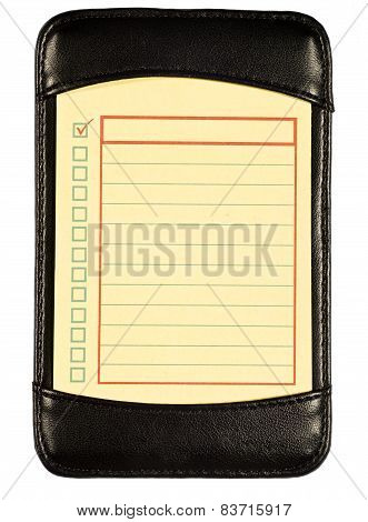 Yellow 'To Do' list in a black leather folio.  On white background. poster