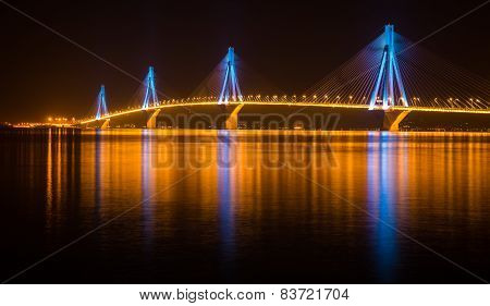 Rio-antirio Bridge At Night, Greece