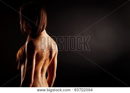 Naked Back Of Young Girl With Henna Tattoo Mehendi