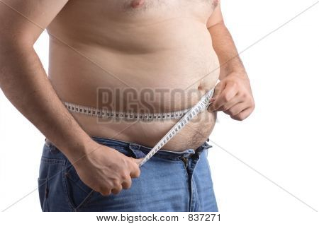 Fat man holding a measurement tape against white background poster
