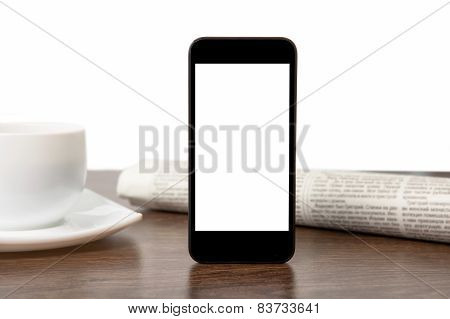Tach Phone With Isolated Screen On A Table At A Businessman