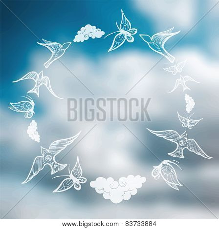 Vector Blurred Background With Sky And Butterflies, Birds, Clouds In The Shape Of A Circle